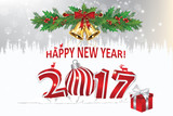 Happy New Year 2017 - elegant greeting card with jingle bells, mistletoe, Christmas baubles and winter landscape. Print colors used