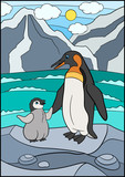 Cartoon birds. Mother penguin with her little cute baby.