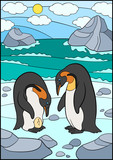 Cartoon birds. Two cute penguins look at the egg.