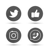 Flat designed vector icons of hipster photo camera, like hand symbol, thumbs up, messenger bird and telephone receiver for social media, interfaces, websites vector illustration