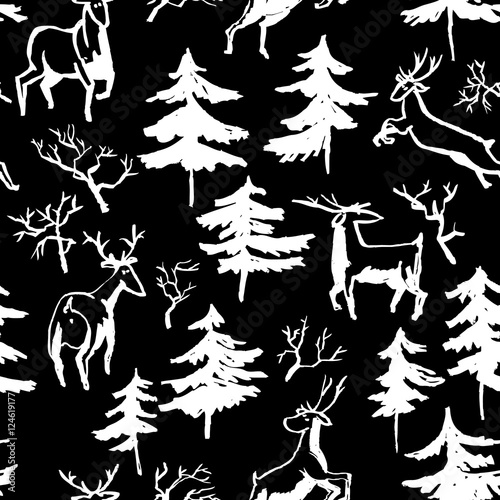 Cotton fabric Hand drawn winter seamless pattern with deer and pine trees