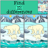 Educational game: Find differences. Mother polar bear with baby.