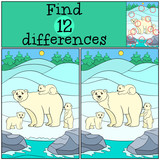 Educational game: Find differences. Mother polar bear with babie