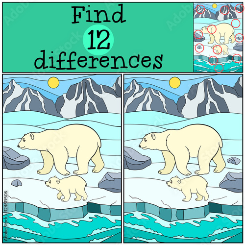 Aluminium Zoo Educational game: Find differences. Mother polar bear with baby.