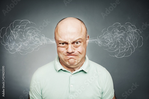 Closeup portrait of angry man, blowing steam coming out of ears, Poster
