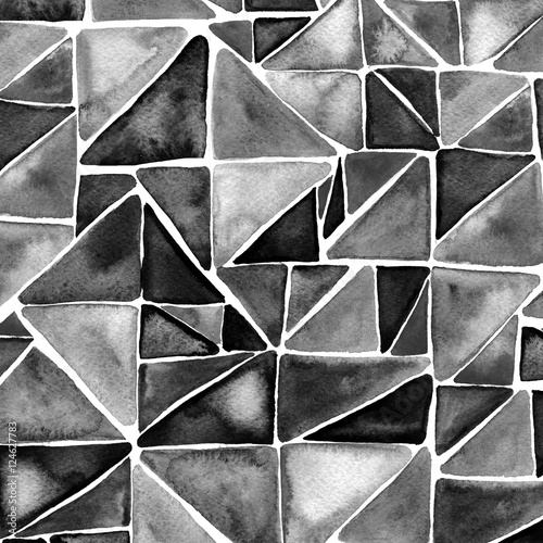 Black watercolor triangles background. Modern geometry texture. - 124627783