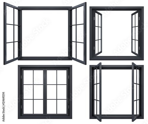 Collection of black window frames isolated on white | Buy Photos ...