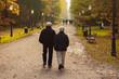 Elderly couple walking in park in autumn