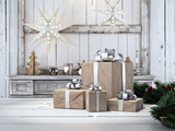 Fototapety beautiful gift with Christmas ornaments.nordic style. 3d rendering