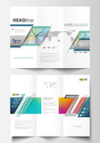 Tri-fold brochure business templates on both sides. Easy editable layout in flat style, vector illustration. Colorful design background with abstract shapes and waves, overlap effect.