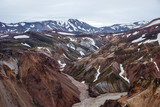 Landmannalaugar. Amazing multicoloured mountains near Brennisteinsalda at the start of the Laugavegur hike in the southern highlands of Iceland