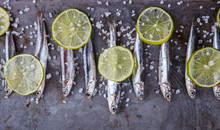 Anchovy Fresh Marine Fish.Appetizer. selective focus.