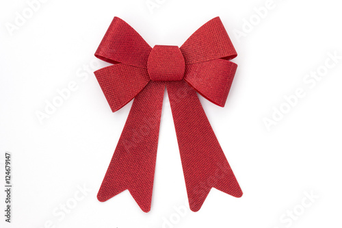 Poster Shiny red holiday bow on white