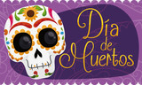Banner with Smiling Mexican Skull Celebrating Dia de Muertos, Vector Illustration