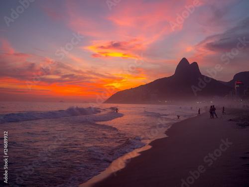 Ipanema Beach at Sunset in Rio de Janeiro Poster