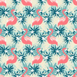 Beautiful seamless pattern with flamingo and tropical plants - 124690136