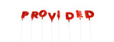PROVIDED - word made from red foil balloons - 3D rendered.  Can be used for an online banner ad or a print postcard.