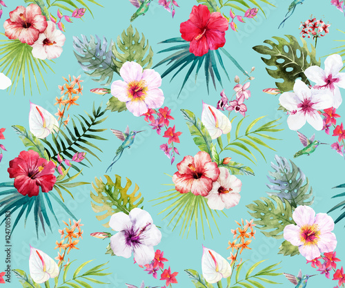 Cotton fabric Watercolor tropical floral pattern