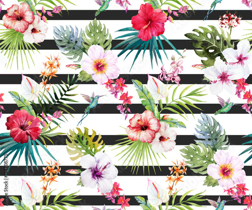 Watercolor tropical floral pattern - 124708775