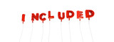 INCLUDED - word made from red foil balloons - 3D rendered.  Can be used for an online banner ad or a print postcard.