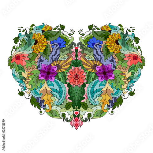 Hand drawn flower heart - 124712599