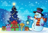 Snowman near Christmas tree theme 1