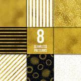 Golden seamless pattern set