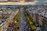 Fototapety Paris, France aerial view from Triumphal Arch on Champs Elysees