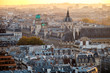 Vintage Paris France shot from Notre-Dame Cathedral with Sorbonne University in the background. Autumn shot.