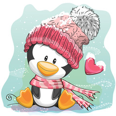 Cute Penguin in a knitted cap