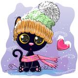 Cute Kitten in a knitted cap