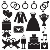 Wedding silhouette icons - 124738923