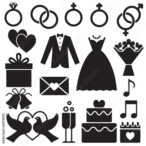 Wedding silhouette icons