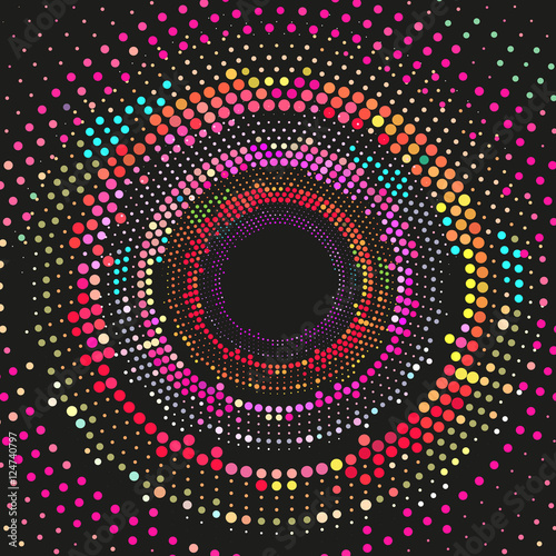 Abstract dotted circle lines colorful celebration background. - 124740797