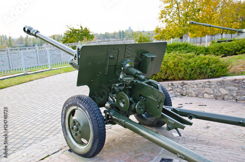 Poster Second world war cannon in a park. Kremenchug, Ukraine