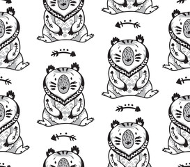 Black and white seamless pattern with bears