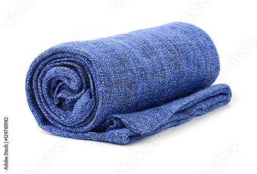 Blue rolled blanket Poster