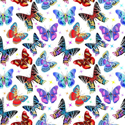 Staande foto Kunstmatig Seamless pattern with colorful butterflies. Vector illustration
