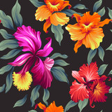 Seamless exotic pattern with tropical leaves and flowers. Blooming jungle. Vector illustration. - 124762739