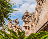 This is famous grotesque statues with human faces that decorate garden and wall of Villa Palagonia