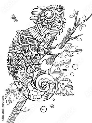 Kolorowanka kameleon dla dorosłych wektor