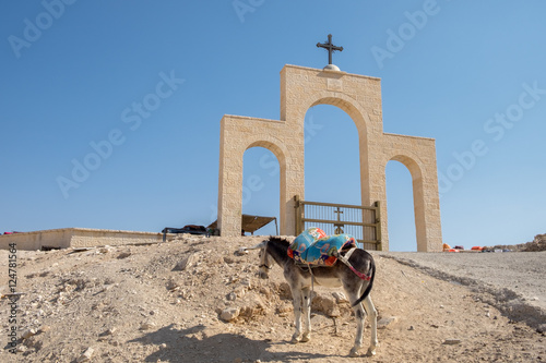 donkey for tourist riding tourists at St George Orthodox Monaste Poster
