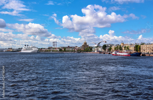 Landscape view of Neva riverside of Saint Petersburg with white colored ocean sh Poster