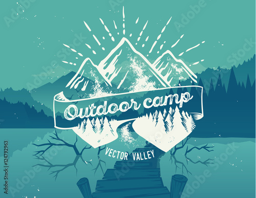 Outdoor camp typography design on vector valley