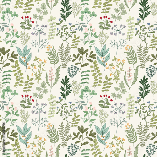 Fototapeta Seamless pattern of flowers, herbs and leaves