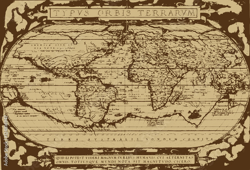 Poster Early world map / Abraham Ortelius(1570) [vector]