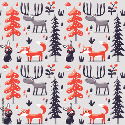 Cotton fabric New seamless cute winter christmas pattern made with fox, rabbit, mushroom, bushes, plants, snow, tree