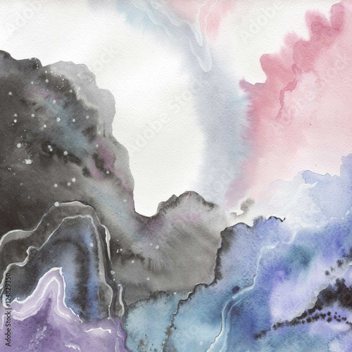 Abstract watercolor paper splash shapes isolated drawing. Abstract aquarelle for background, texture, wrapper pattern, frame or border. - 124829350