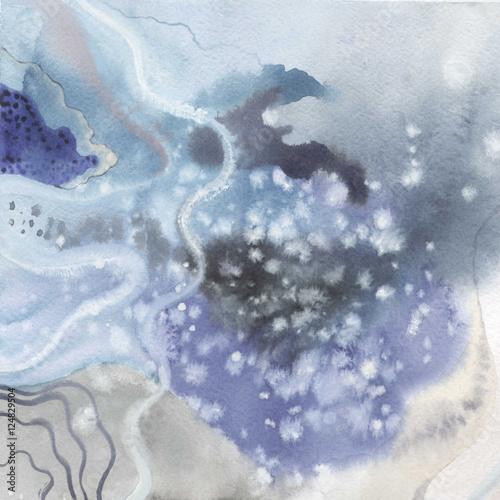 Abstract watercolor paper splash shapes isolated drawing. Abstract aquarelle for background, texture, wrapper pattern, frame or border. - 124829504