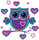 cute owl with hearts